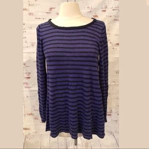 J Crew Linen Swing Sweater XS Purple/Blue Stripe